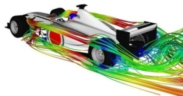 Race car with computational fluid dynamics